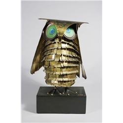 Curtis Jere (20th Century, American) A Brass, Copper, and Enameled Figure of an Owl,