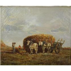 Artist Unknown (20th Century) Harvest Scene with Figures, Oil on Canvas