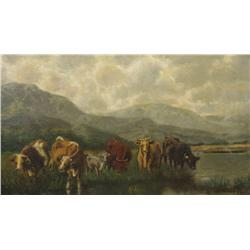 Artist Unknown (20th Century) Landscape with Cattle, Oil on Canvas