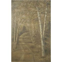 W.F. Courtney (20th Century) Forest Scene, Mixed Media on Board