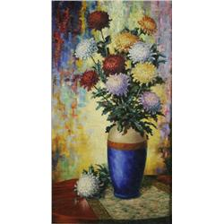 Roy T. Shedy (20th Century) Still Life with Flowers, Oil on Canvas,