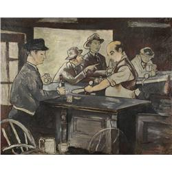 Artist Unknown (20th Century) Bar Room Scene, Oil on Board