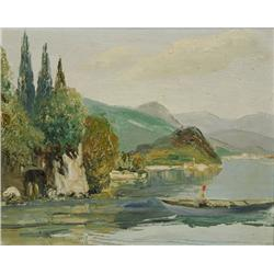 Artist Unknown (20th Century) Mountain Scene with Lake, Oil on Canvas