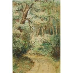 Jean Persons (20th Century) Forest with Winding Road, Watercolor on Paper
