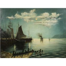 Artist Unknown (20th Century) Evening Harbor Scene, Oil on Board