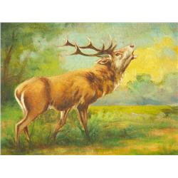 Artist Unknown (20th Century) Stag in a Landscape, Oil on Board