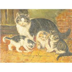 Artist Unknown (20th Century) Cat with Kittens, Oil on Board