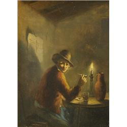 Artist Unknown (19th Century) Old Master Interior Man with Pipe, Oil on Wood Panel