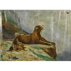 Artist Unknown (20th Century) Lion with Cubs, Oil on Canvas