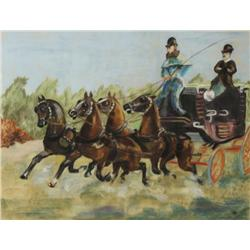 Artist Unknown (20th Century) Carriage with Riders after Toulouse Lautrec, Pastel on Paper