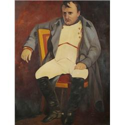 Artist Unknown, Portrait of Napoleon, Oil on Paper, Mounted on Artist Board