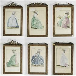 A Group of Six 18th Century French School Colored Engravings of Costume Illustrations.