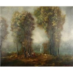 E. Aval (20th Century) Landscape, Oil on Canvas