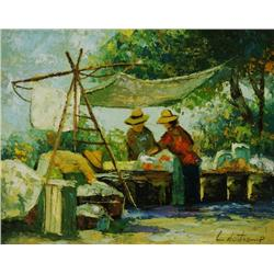 Artist Unknown (20th Century) Vendors Selling in a Landscape, Oil on Board