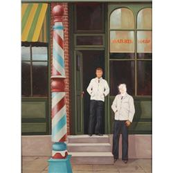 Artist Unknown (20th Century, American) Barber Shop, Oil on Wood