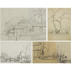 Paul Riba (1912-1977) A Group of Four Landscape Studies, Graphite on Paper