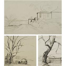 Paul Riba (1912-1977) A Group of Three Landscape Studies, Graphite on Paper