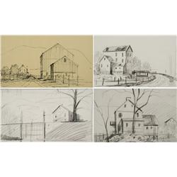 Paul Riba (1912-1977) A Group of Four Landscape with House Studies, Three are Graphite on Paper and