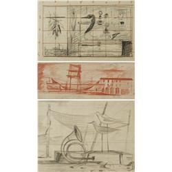 Paul Riba (1912-1977) A Group of Three Still Life Studies, Two are Graphite on Paper and One is Cont