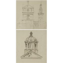 Paul Riba (1912-1977) Two Architectural Studies, Graphite on Paper