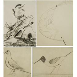 Paul Riba (1912-1977) A Group of Four Studies Depicting Various Birds, Graphite on Paper