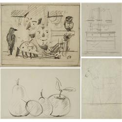 Paul Riba (1912-1977) A Group of Four Still Life Studies, Graphite on Paper