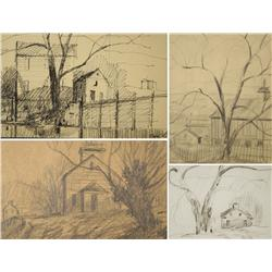 Paul Riba (1912-1977) A Group of Four Landscape with House Studies,