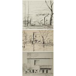 Paul Riba (1912-1977) A Group of Three Landscape with House Studies, Three are Graphite on Paper and