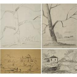 Paul Riba (1912-1977) A Group of Four Landscape Studies Three are Graphite on Paper and One is Pen a