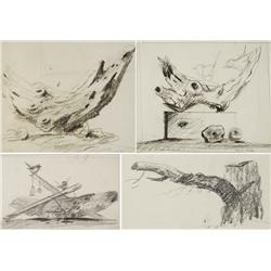 Paul Riba (1912-1977) A Group of Four Still Life Studies with Driftwood Graphite on Paper