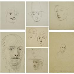 Paul Riba (1912-1977) A Collection of Seven Portrait Studies, Graphite on Paper