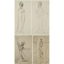 Paul Riba (1912-1977) A Group of Four Figural Studies, Graphite on Paper
