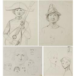 Paul Riba (1912-1977) A Group of Four Portrait Studies, Graphite on Paper