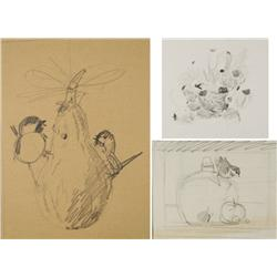 Paul Riba (1912-1977) A Group of Three Still Life Studies Depicting Various Themes, Graphite on Pape