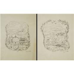 Paul Riba (1912-1977) Two Landscape Drawings, Graphite on Paper