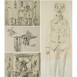Paul Riba (1912-1977) A Group of Four Figural Studies Depicting Clowns and Puppets, Graphite on Pape