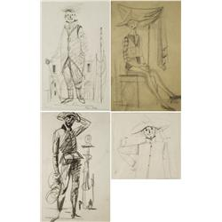 Paul Riba (1912-1977) A Group of Four Figural Studies Depicting a Harlequin, Scarecrow and Clowns,