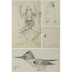 Paul Riba (1912-1977) A Group of Four Animal Studies, Graphite on Paper