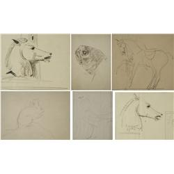 Paul Riba (1912-1977) A Collection of Six Studies Depicting Animals, Graphite on Paper