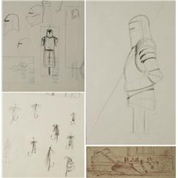 Paul Riba (1912-1977) A Group of Four Studies Depicting Various Themes, Graphite on Paper