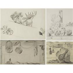Paul Riba (1912-1977) A Group of Four Beach Themed Still Life Studies, Graphite on Paper