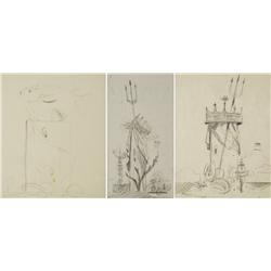 Paul Riba (1912-1977) A Group of Three Beach Themed Still Life Studies, Graphite on Paper