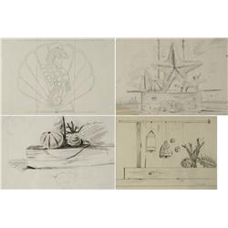 Paul Riba (1912-1977) A Group of Four Beach Themed Still Life Studies and Drawing, Graphite on Paper