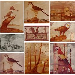 Paul Riba (1912-1977) A Collection of Nine Photographs Depicting Finished Paintings, Six are Numbere
