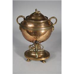 An English Egyptian Revival Copper and Brass Hot Water Urn.