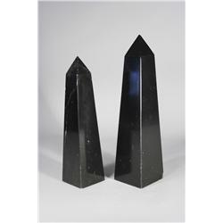 Two Black Onyx Marble Obelisks.
