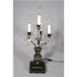 An Empire Style Patinated Metal and Brass Four Arm Candelabra, Electrified.