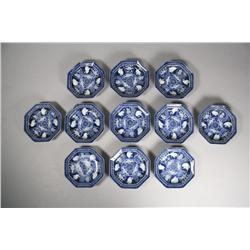 Eleven 19th Century Japanese Blue and White Imari Porcelain Saucers.
