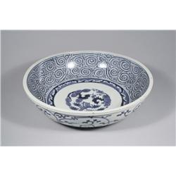 A Large Japanese Blue and White Porcelain Bowl, Signed on Bottom.