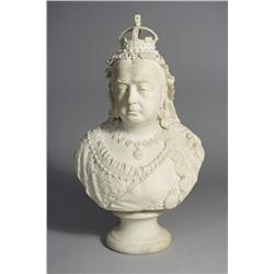 An English Parian Porcelain Bust of Queen Victoria to Commemorate the 60th Year of her Reign, 1837-1